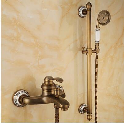Античная бронза латунь Готовые настенные Однорычажный смеситель для ванной набор водопроводной воды torneira chuveiro ducha