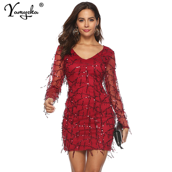Sexy Red midi Sequins Summer dress women Mesh Long sleeve bodycon dress elegant vintage Party Dreses vestidos Night club clothes sexy plus size sequins summer dress women fashion off shoulder bodycon party dress elegant night club dresses midi vestidos new