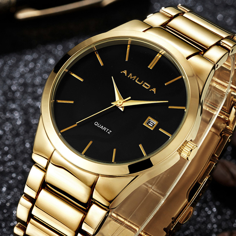 2016 Mens Watches Top Brand Luxury Fashion Steel Men's Quartz Watch Male Business Wrist Watch Clock relogio masculino Dourado