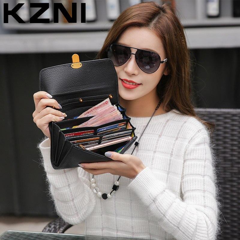 KZNI en cuir véritable femmes Sac portefeuille porte-carte bandoulière épaule embrayage sacs à Main Sac a Main Femme De Marque 2137