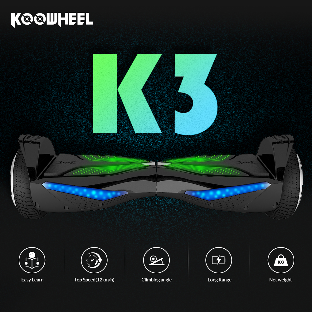 Koowheel K3 6.5 inch Electric Hoverboards with Bluetooth Self Balancing Scooters Overboard LED HoverBoard for Adult Kids