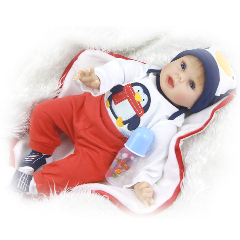 Vivid 22'' Soft Silicone Reborn Baby Dolls with Big Mouth Dressed Penguin Cloth Boy Baby Dolls Birthday Xmas Gift New Arrival пинетки митенки blue penguin puku