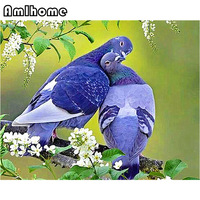 AMLHOME 2017 New 5D DIY Diamond Painting Pigeon Crystal Diamond Embroidery Cross Stitch Needlework Home Decorative