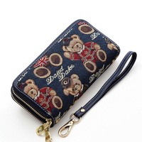 Lovely Bear Printing Double Zipper Interlayer Purse Trendy New Women Durable Canvas Wallet Ladies Stylish Cartoon Clutch Bag