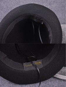 Image 5 - 100% צמר גברים של ביילי Ofhollywood פדורה כובע עבור אדון מעיכים Hantom אבא Bowler כובע יוקרה Billycock כובעים