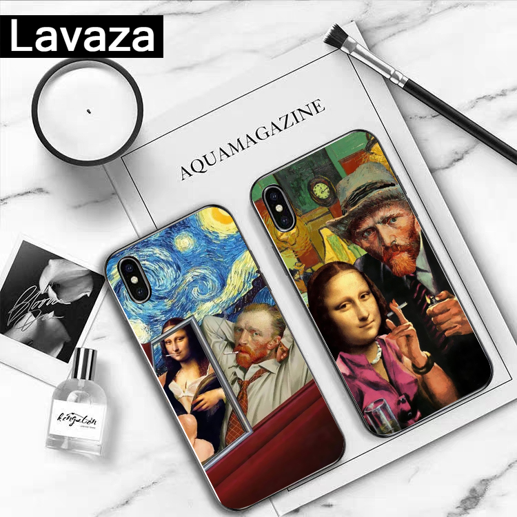 Lavaza Van Gogh Mona Lisa Funny Art Girl Silicone Case for iPhone 5 5S 6 6S 7 8 11 Pro Plus X XR XS Max in Fitted Cases from Cellphones Telecommunications