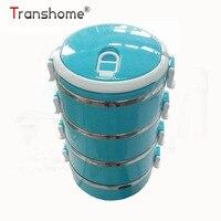 Transhome 3 capa ecológico Cajas de almuerzo caja de comida japonesa Bento térmica almuerzo aislada con Cucharas para Juegos de vajilla