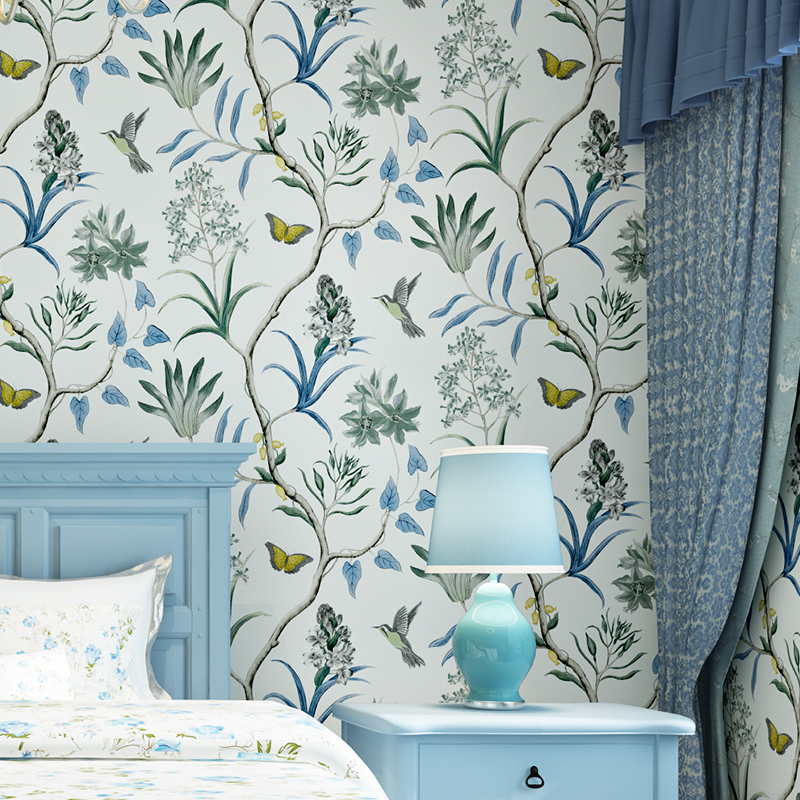 American Style Non Woven Wallpaper Modern Vintage Pink Floral Wall Paper Blue Tropical Butterfly Birds Flower Wall Covering 3 D