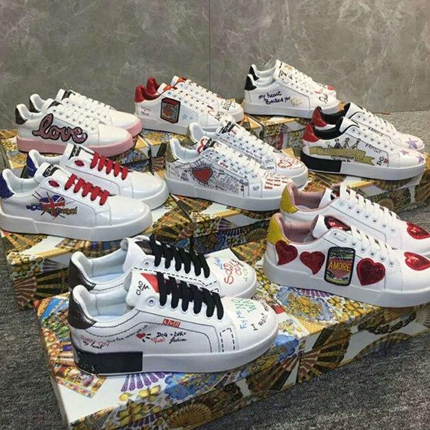 Graffiti Imprimir Goma Forma Cartas Casuales Impreso De Mujer Cuero Suela Genuino Zapatillas Directo Zapatos Corazón 00HBxq