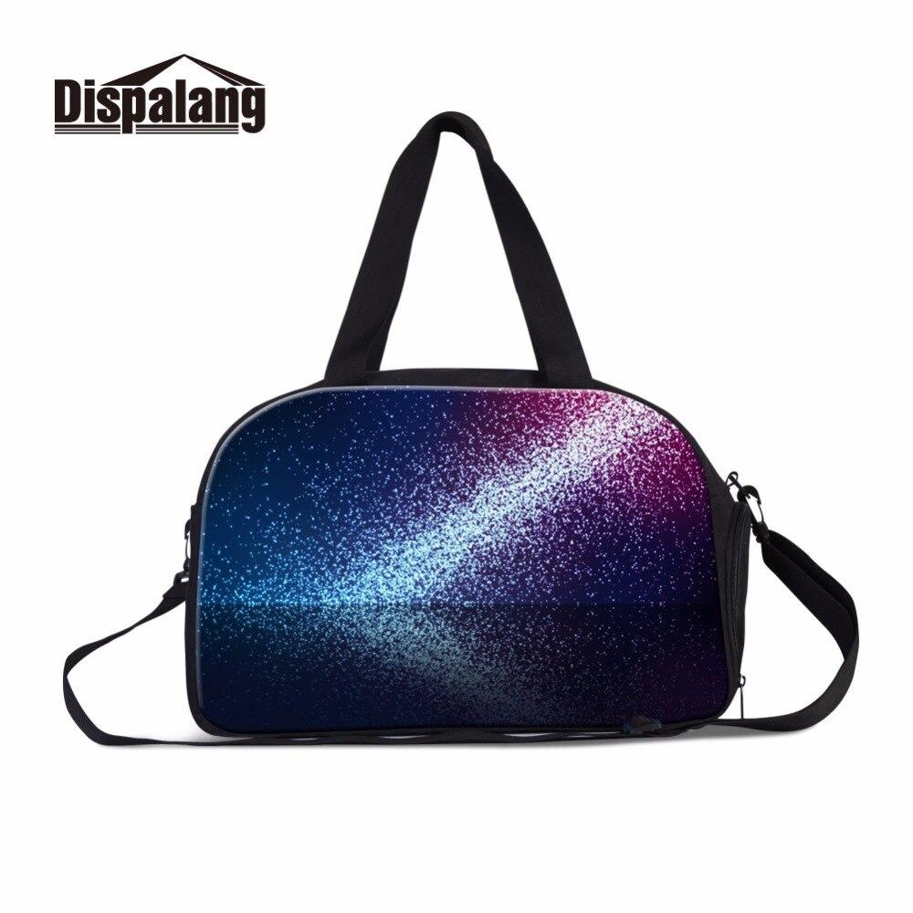 Dispalang colorful shining luggage travel bag for women girls sporty shoulder handbag with independent shoe bag workout bag Shoe Bags