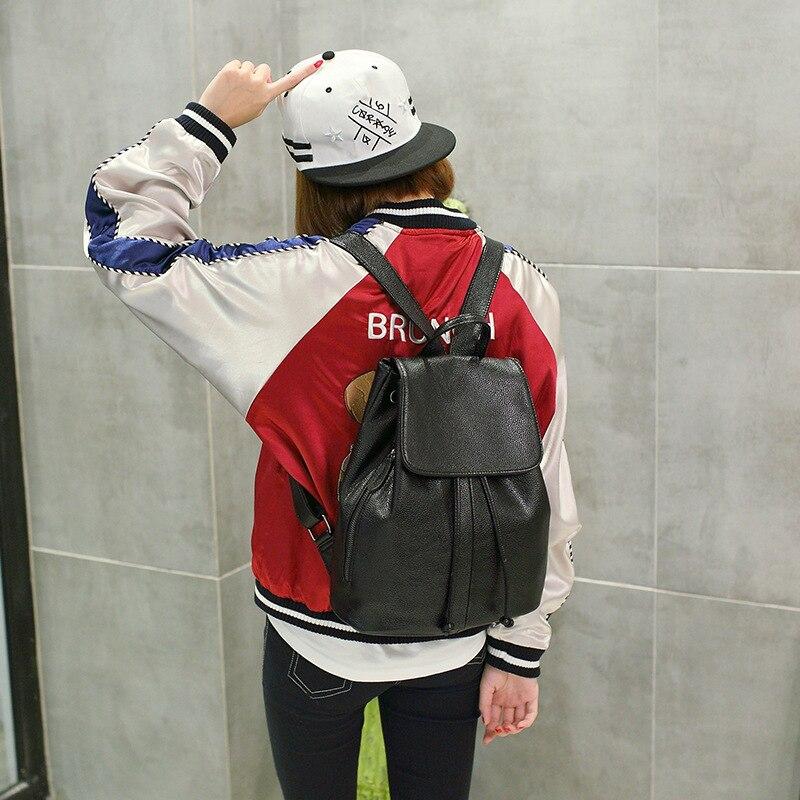 Split cuir mignon sac à dos petit sac à dos femmes solide noir sacs d'école pour les adolescentes