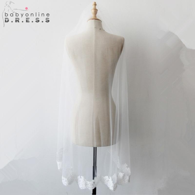 Wedding-Veil Comb Short Lace-Edge Appliques Ivory White One-Layer Cheap With Veu-De-Noiva