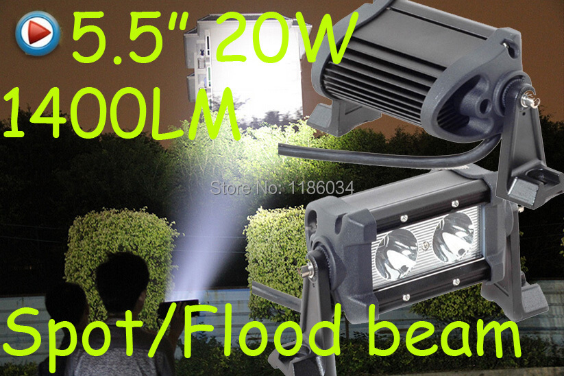 ФОТО Free ship!1pcs/set,5.5inch 20W 1400LM,10~30V,6500K,LED working bar,Boat,Bridge,Truck,SUV Offroad car,black!40W 60W 80W