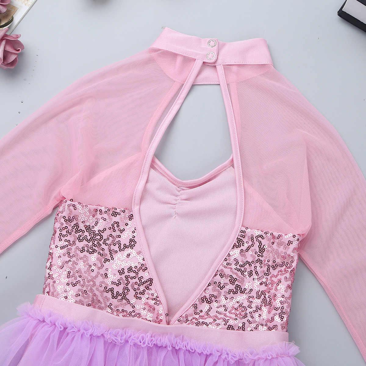 Trẻ em Cô Gái Múa Ba Lê Leotard Váy Tutu Váy cho Girl Lyrical Múa Đương Đại Tulle Shiny Sequins Cutout Lại Nhảy Trang Phục Jumpsuit