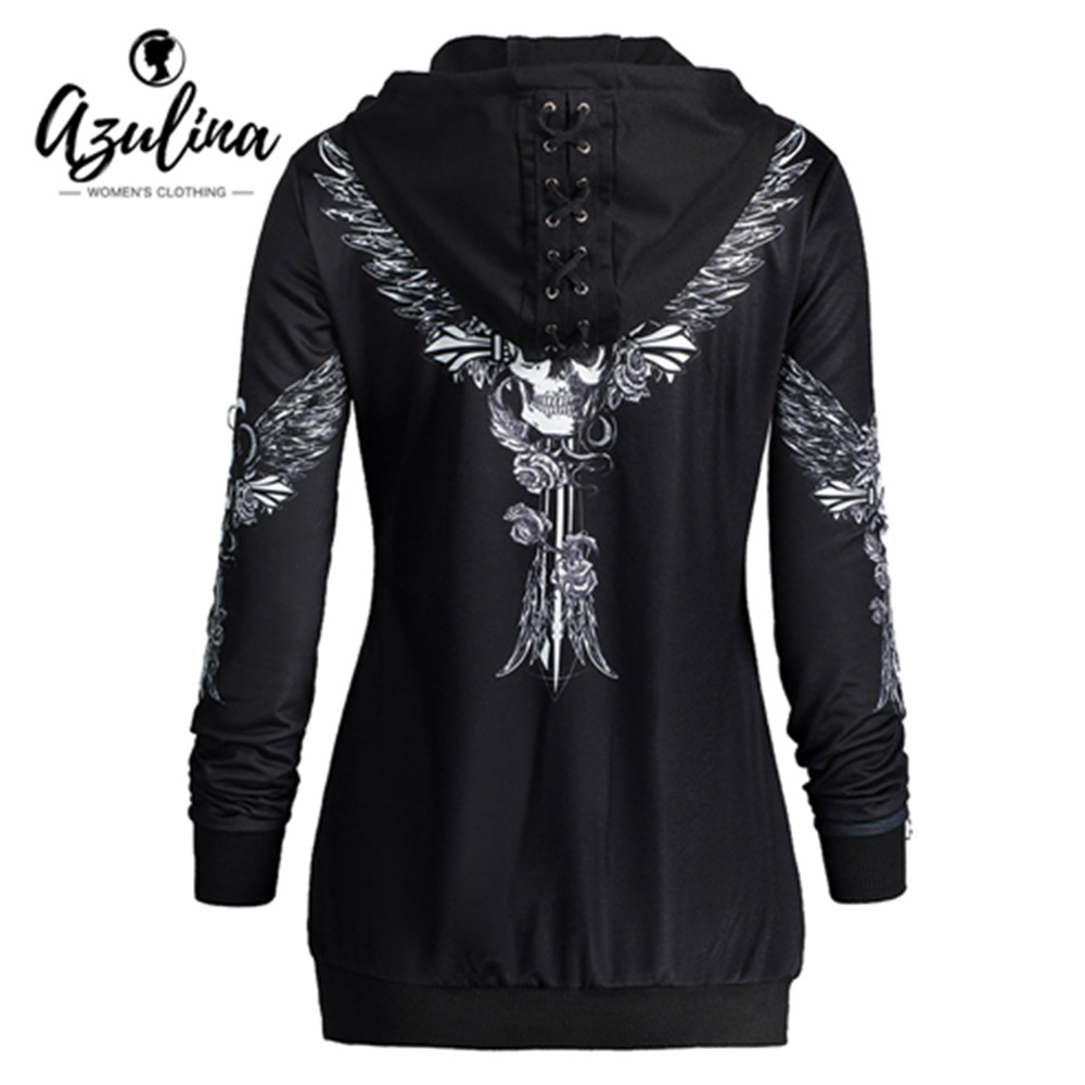 AZULINA Plus Taille Ange Aile Crâne Imprimer Zip Up Hoodie Femme Punk Frais Hoodies Sweat Femmes Casual Lace Up À Capuche pull