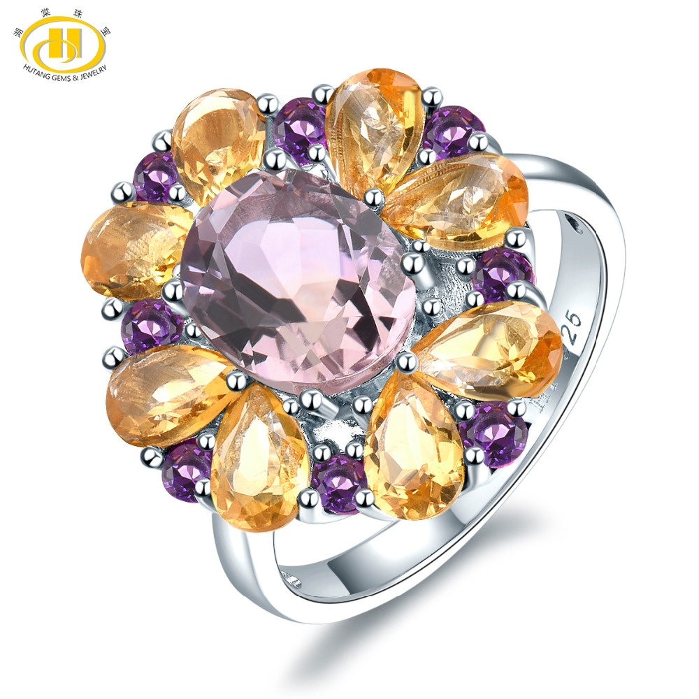 Hutang Engagement Rings 5 7ct Natural Pink Ametrine Citrine 925 Sterling Silver Ring Gemstone Fine Jewelry