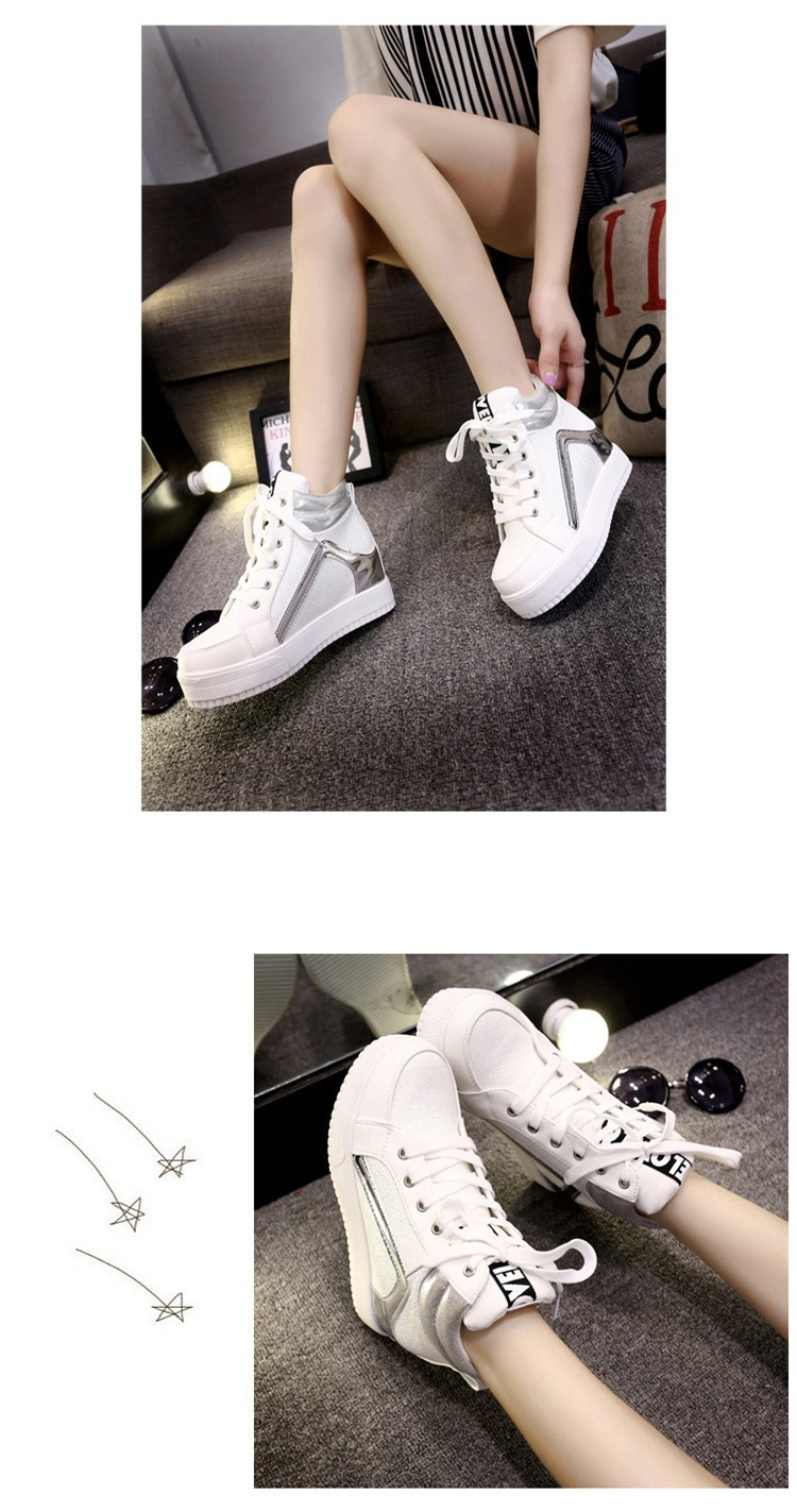 Height Increasing Women Casual Shoes 2015 High Top Mixed Colors Platform Ladies Shoes Breathable Lace Up Autumn Ankle Boots S28 (13)