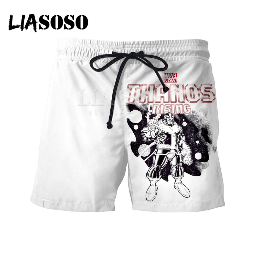 LIASOSO Summer 3D Print Avengers 3 Infinite War Thanos Short Pants Mens & Womens Print Pant Harajuku Lace Hot Pants Y059