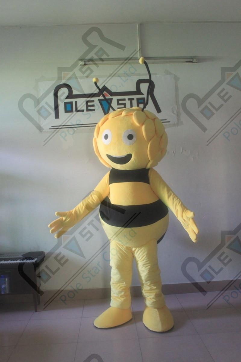 character maya bee mascot costume hot sale smile bee costumes 3D hair