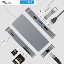7 in 1 USB C phone laptop docking station USB 3.0 HDMI RJ45 SD Type-c USB hub Fealushon for laptop Macbook Pro HP DELL Surface L цена и фото