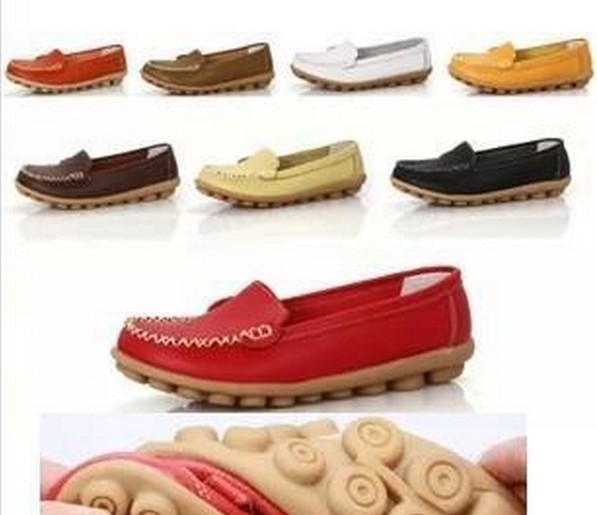 New 2017 Women genuine Leather Shoes Slip on women Flats Comfort shoes woman moccasins Spring summer shoes