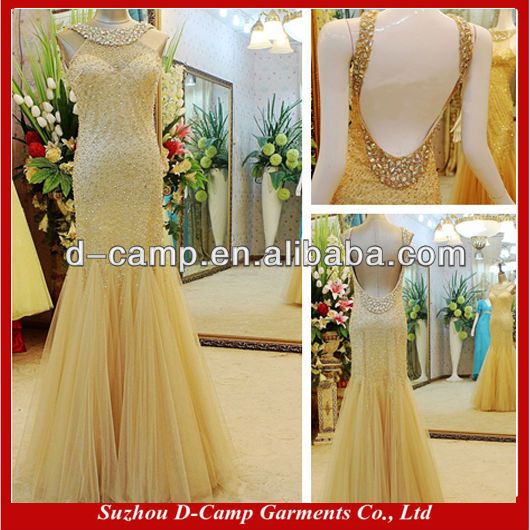 OC 2081 Manufacture Direct Hot Sale Gold Gown Evening Malaysia Online Shopping