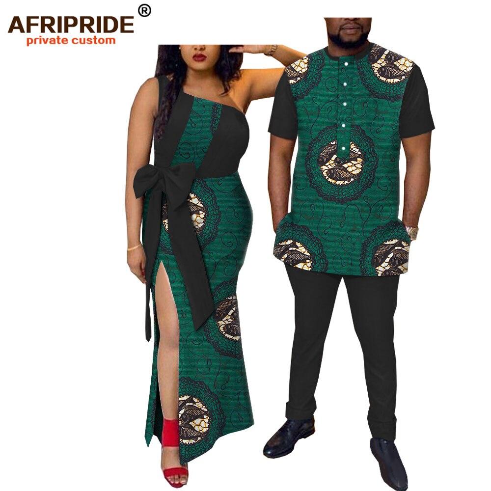 2019 printemps afrique tissu hommes ensemble & femmes robe AFRIPRIDE manches courtes hommes ensemble + sans manches cheville longueur femmes robe A18C003