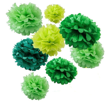 32X NEW RELEASE mix sizes baby boy girl GREEN STYLE tissue paper bunting pom poms wedding party wall hanging decorative flower