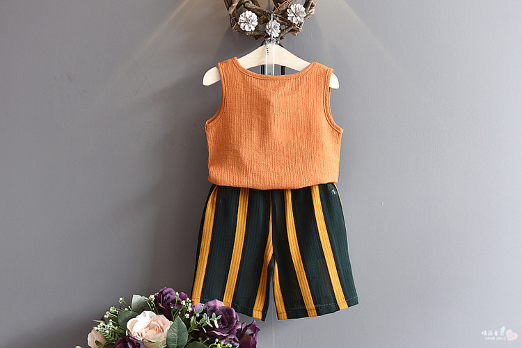 1st-2018-Summer-New-Girls-Summer-Style-Pearl-Pearl-Sleeveless-Tank-Top-Stripe-Belt-Contrast-Color