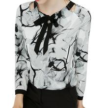 2019 New Yfashion Women Elegant Ink Painting Printing Bowknot Long Sleeve Shirt