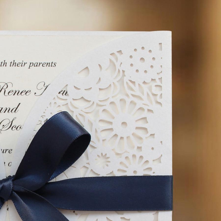 Wedding Invitation BH2065, White Laser Cut Wedding Invitation with ...