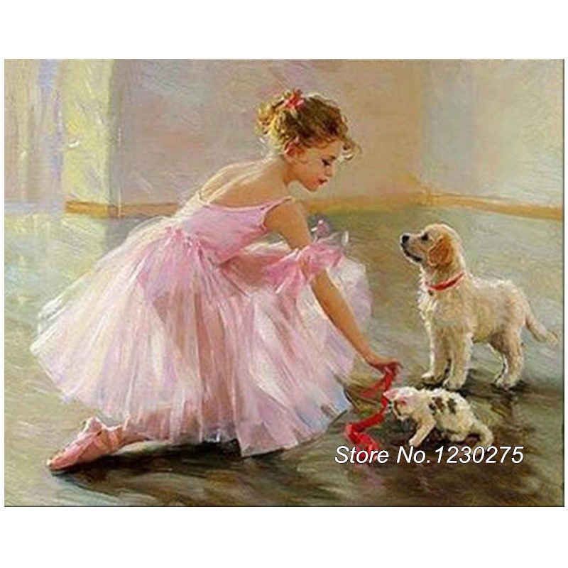 DIY Diamond Mosaic BALLERINA GIRL Dog 5D Diamond Painting Cross Stitch Kits Diamond Embroidery Full Rhinestone Home Decor BD958