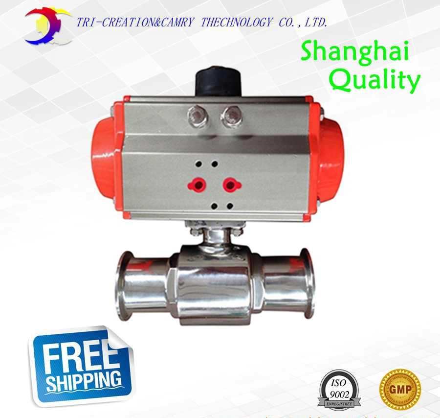 3/4 DN15 sanitary stainless steel ball valve,2 way 304 quick-install/food grade pneumatic valve_double actin straight way valve 3 4 3 way stainless steel ss304 pneumatic electric ball valve
