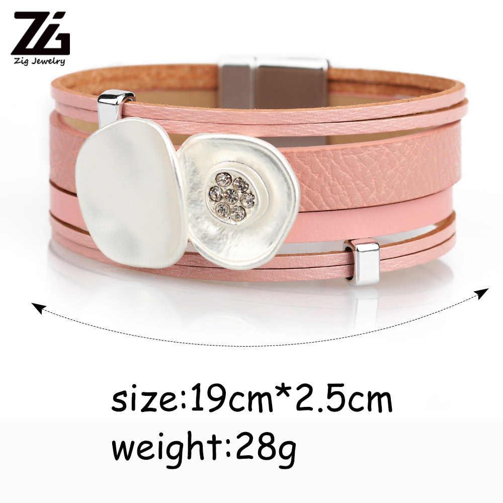 ZG 2019 pulseras piedras de colores women leather big flower bracelet in 4 colors