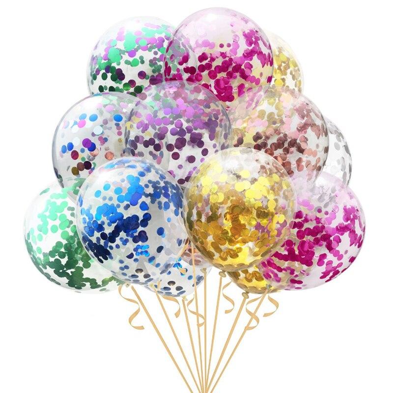 Круглые латексные воздушные шары, 12 дюймов, золотые, серебряные, конфетти, 5 шт., вечерние, для дня рождения, для детей, для взрослых, воздушные...