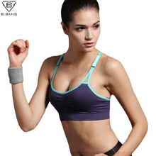B BANG Sexy Women Push Up Bra Running Sports Shirts for Yoga Gym Fitness Patchwork Tops
