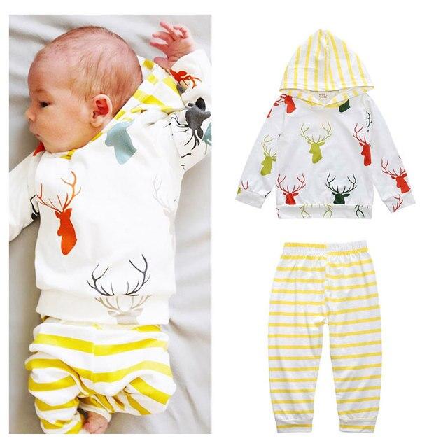 US $11.52 10% OFF|Neue Heiße Mode Jungen Mädchen Outfit Sets Elch Nette Mit Kapuze neugeborenen Baby Trainingsanzug Neugeborenen Geschenk set Jungen