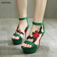 Женские сандалии Vogue вышитый цветок на платформе дамские босоножки на высоком каблуке пикантные Босоножки «Гладиаторы» на каблуках Летняя женская обувь