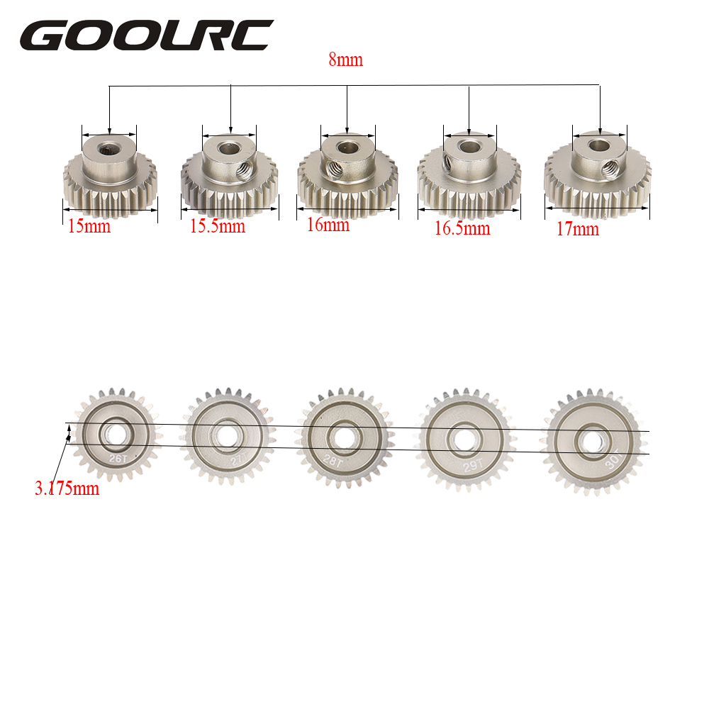 GoolRC RC Gear 48DP 26T 27T 28T 29T 30T Metal Pinion Motor Gear Combo Set for 1:10 RC Car Toy Model Part Brushed Brushless Motor goolrc 48dp 3 175mm 16t 17t 18t 19t 20t pinion motor gear for 1 10 rc car brushed brushless motor car p