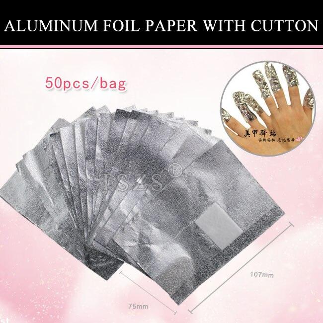 1 Beutel/los Nail Art Aluminium Folie Papier Mit Cutton FÜr Uv Gel Wraps Entferner