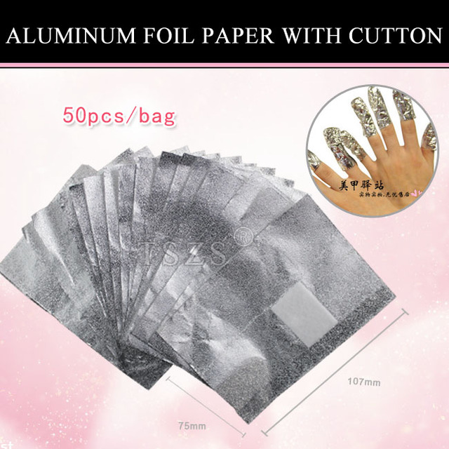 1bag/lot nail art Aluminum Foil Paper with cutton FOR UV gel wraps remover