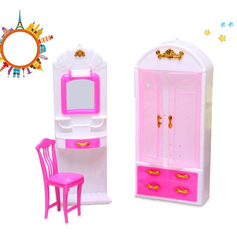 1 Pcs Rosa Closet Kleiderschrank Stuhl Dressing Tisch Für Puppe Prinzessin Schlafzimmer Möbel Spielzeug Für Kinder Geschenk Hell In Farbe
