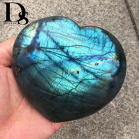 Top Quality Large Size Blue Flash Labradorite Heart Moonstone Reiki Healing Crystal Heart Love Christmas Home Decoration Gifts