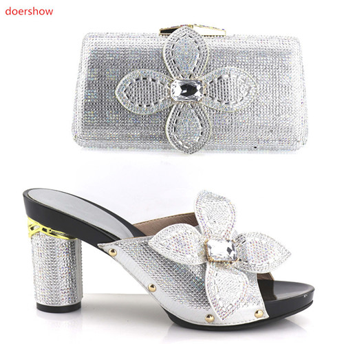 doershow Italian Shoes with Matching Bags for Wedding Women Shoes and Bag to Match for Parties Nigerian Shoes andBag Set XA05-35