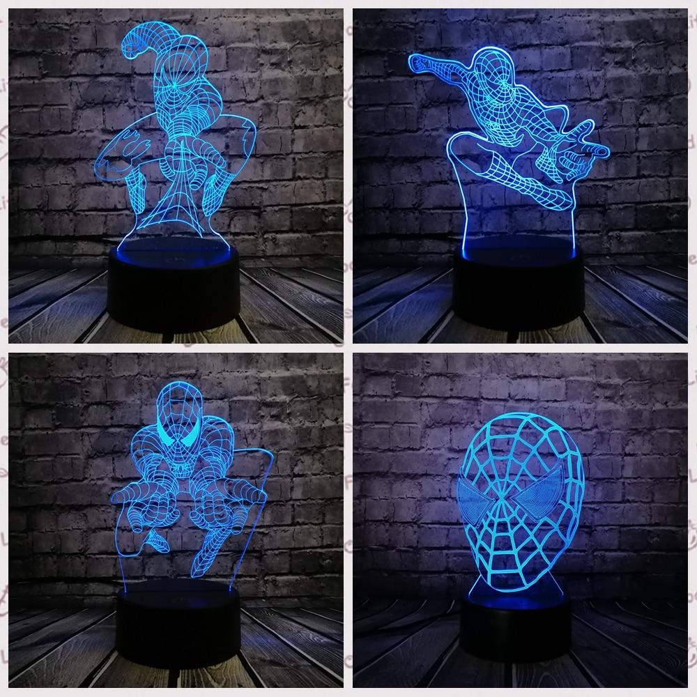 Hot Sale Avengers Figure Captain America Spider Man 3D Lamp Led Gradient Night Light  Creative Festival Party Kid Birthday Gift