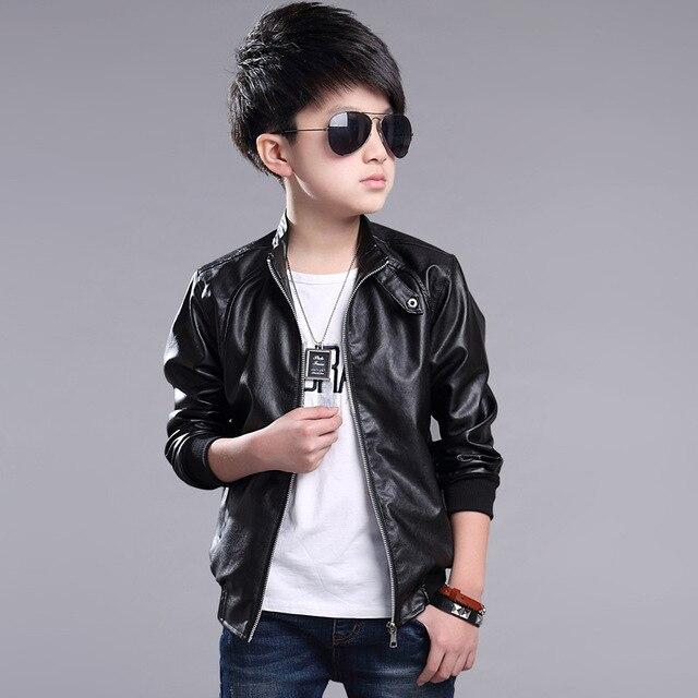 1734d9057 Boys Spring Pu Jacket Handsome Kids Leather Coat High Quality Big ...