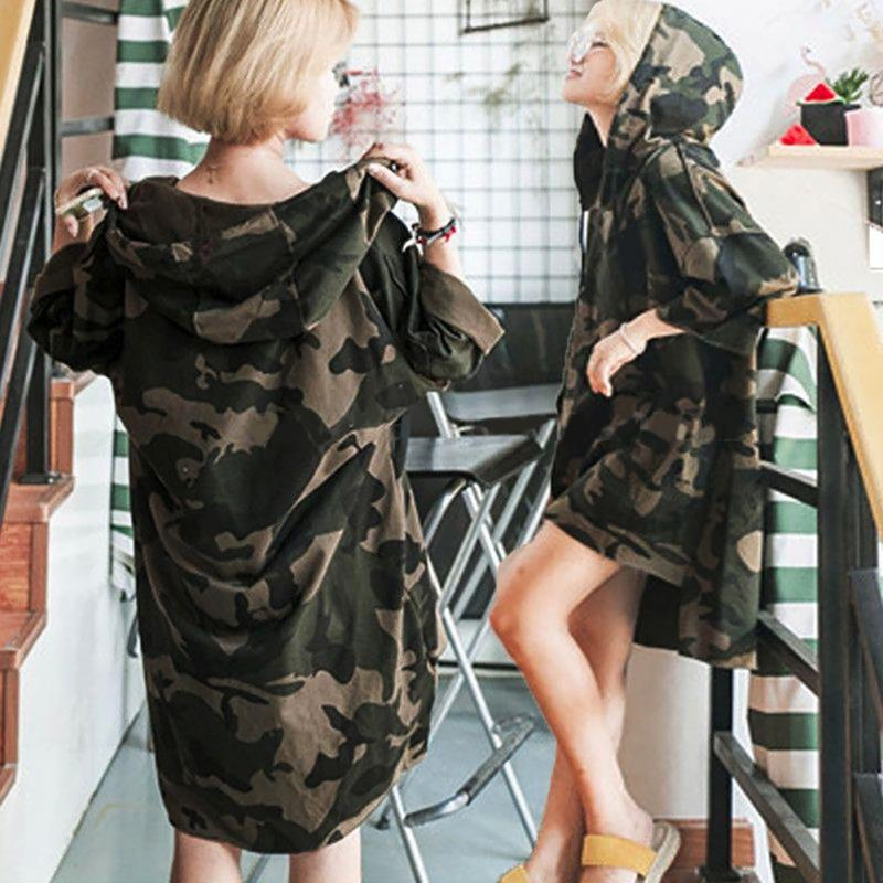 Autumn Harajuku Loose Student Camouflage Hooded Hedging Sweatshirts Female Long Sleeve Pullover Long Section Of Thin Funds