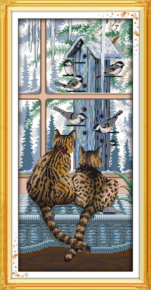 Joy sunday animals style Look at each other uncountable counted cross stitch cat Kids toys