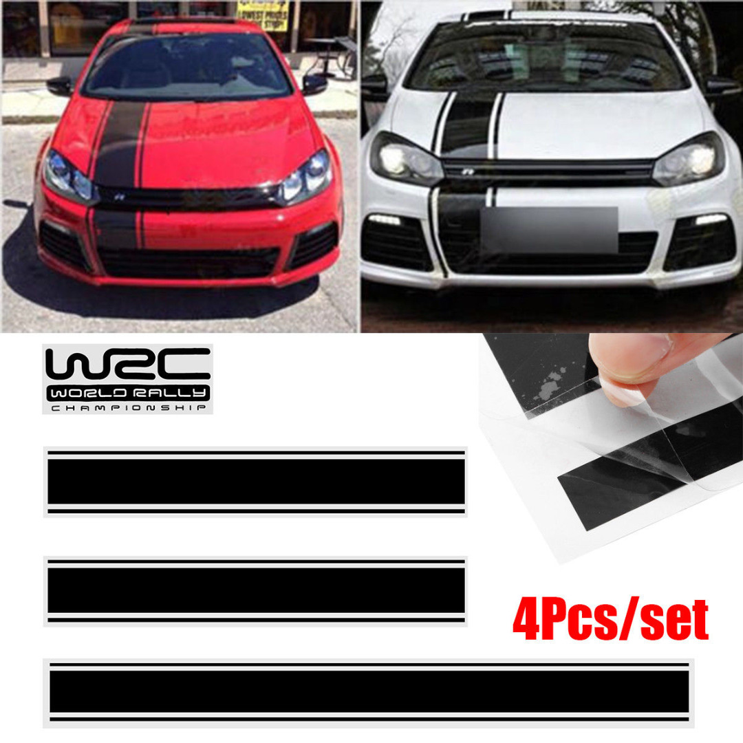 Car exterior stickers 1set 4pcs black car racing stripe vinyl sticker decal for cover roof trunk door onsale