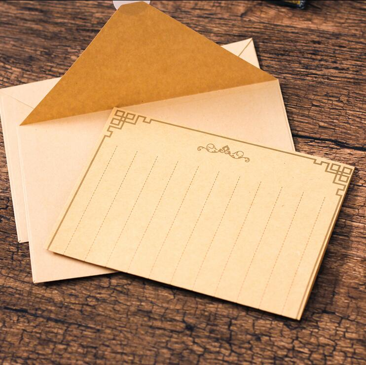 封筒結婚式赤封筒用品 50 ピース/ロット新ヴィンテージシンプルなクラフト紙封筒 Leaffei